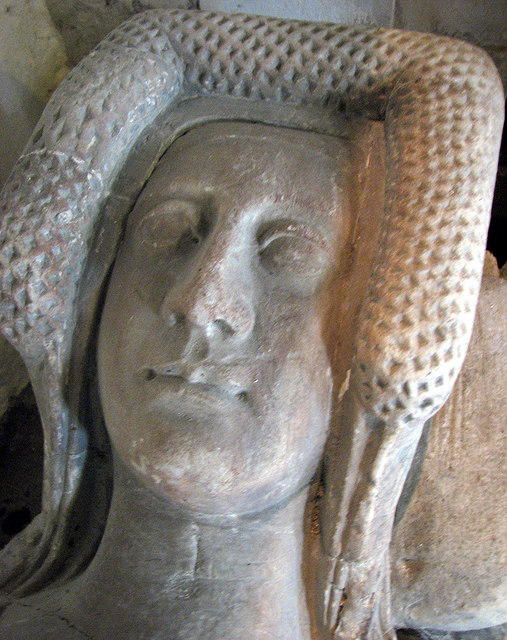 Chrishall: Holy Trinity - head of recumbent effigy