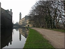 SE1438 : Saltaire: canal reflections by John Sutton