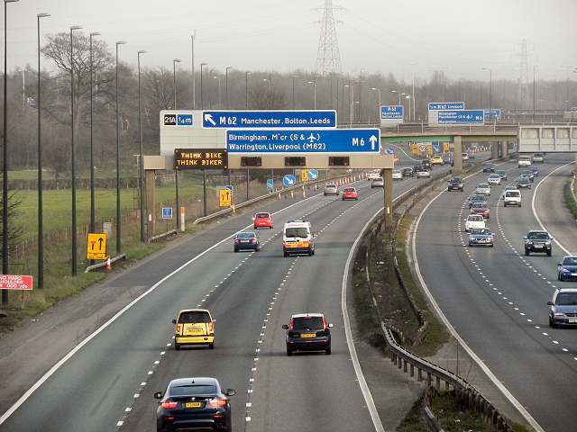 Approaching the M6/M62 Interchange at Croft