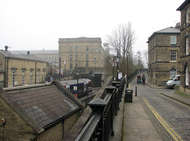 Saltaire: station and Salt's Mill
