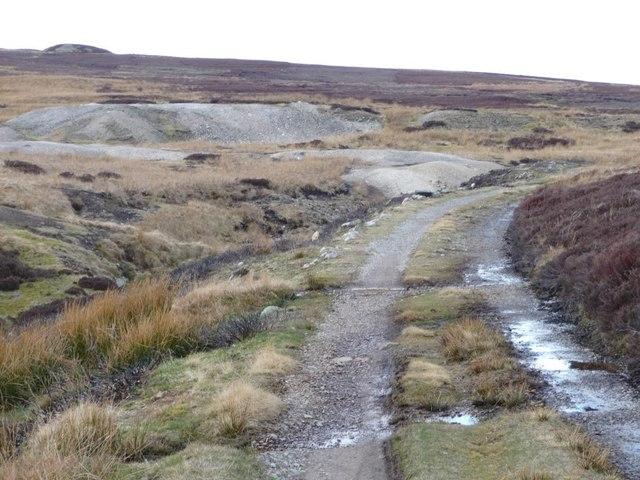 Bridleway skirting a lead mining tip