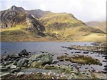 SH6459 : Pinnacle Crag from Llyn Idwal by Chris McAuley