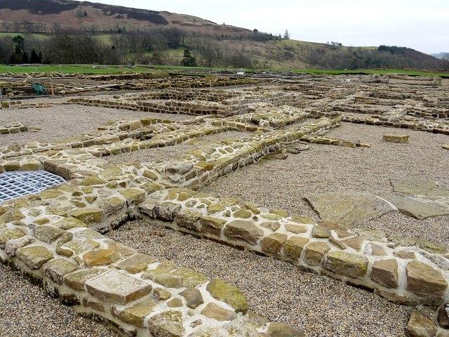 Recently consolidated walls of barracks, Vindolanda Roman Fort
