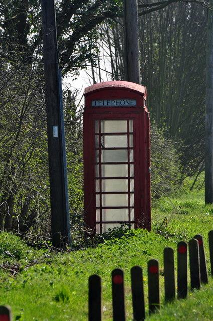 Fradley Junction: Old red telephone box