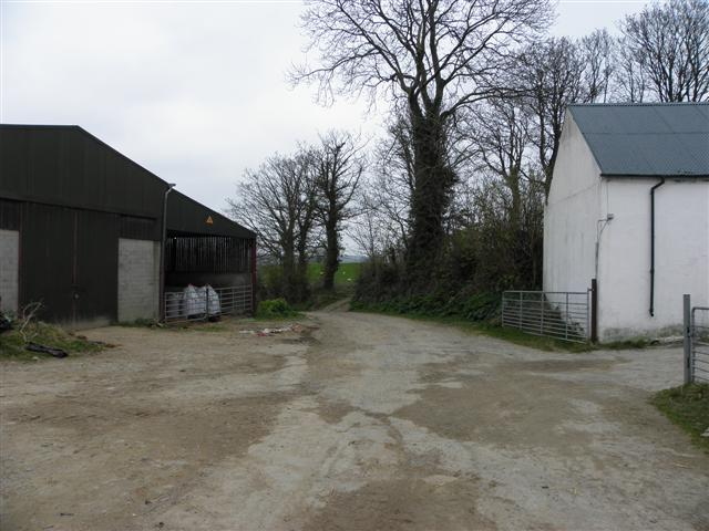 Lane and farm buildings, Maghera More