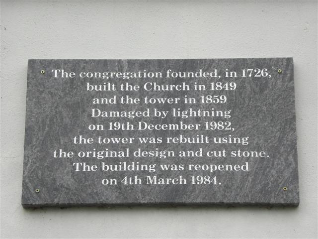 Inscribed plaque, St Johnston Presbyterian Church