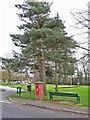 SJ8363 : Street furniture and post box, West Heath by Richard Dorrell