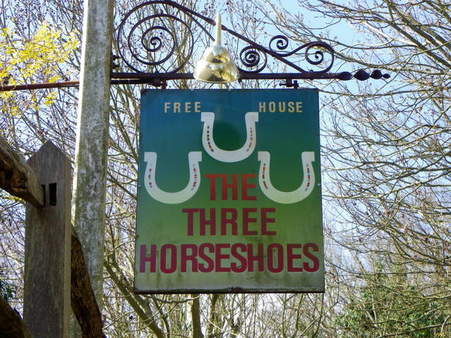 Sign for the Three Horseshoes, Elsted