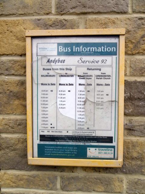 Bus timetable, Corston