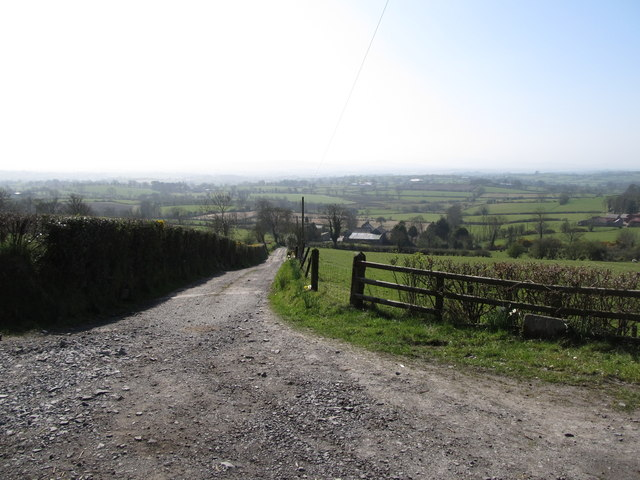 Private farm land leading downslope from Lisnacroppan Road