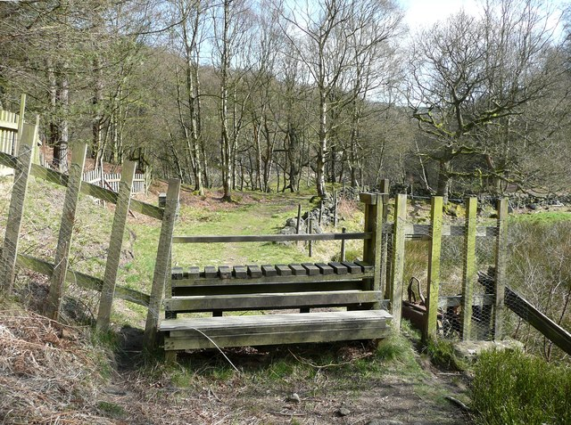 A wide stile near Round Hill Wood, Cragg Vale