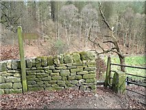 SD9923 : Stile at end of footpath to Higher House Wood and Green Bank by Humphrey Bolton