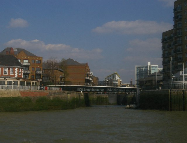 Entrance to Limehouse Basin, from the Thames