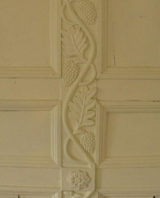 Panelling with vine leaf decoration, Acorn Bank