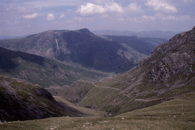 Looking down Browney Gill to the Langdale Pikes