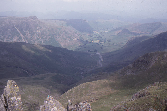 View down into Great Langdale from Crinkle Crags