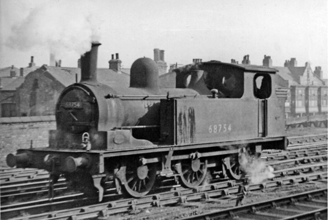 Ex-NER 0-6-0T passing Middlesbrough station on the Goods lines