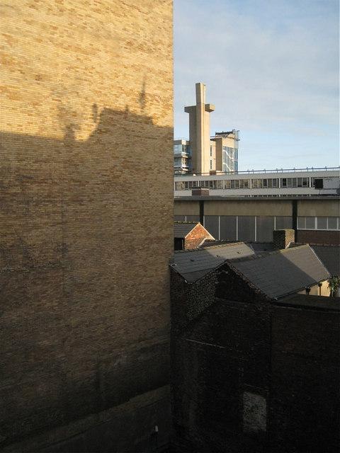Blank brick wall behind the Ibis Hotel