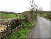 SD8555 : Stone water trough and Hellifield Road by John S Turner