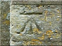 SP1106 : Bench mark, Church of St Mary, Church Road, Bibury, Gloucestershire by Brian Robert Marshall