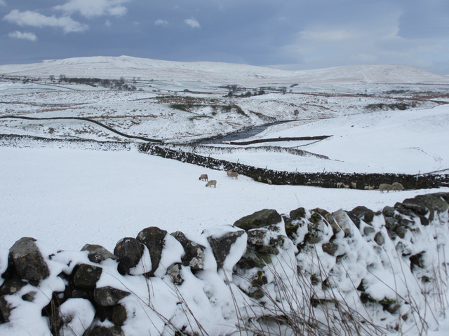 View across Ribblesdale in the snow