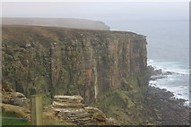 ND2076 : Cliffs in sea mist at Dunnet Head by Roger Davies