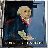 SO8318 : Pub sign, Robert Raikes's House, Gloucester by Jaggery