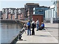 NZ3568 : Angling on Western Quay, North Shields by Oliver Dixon