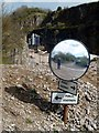 SK2175 : Mirror at bridleway crossing by Graham Hogg