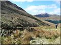 NN2506 : Ruined sheilings in Coire Croe by Gordon Brown