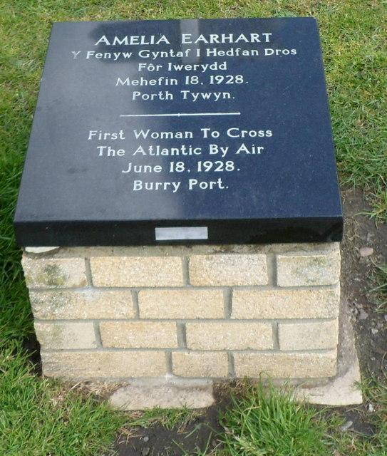 Closeup of an Amelia Earhart plaque, Burry Port