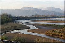 SH5738 : Afon Glaslyn above the tidal sluice by Bill Boaden