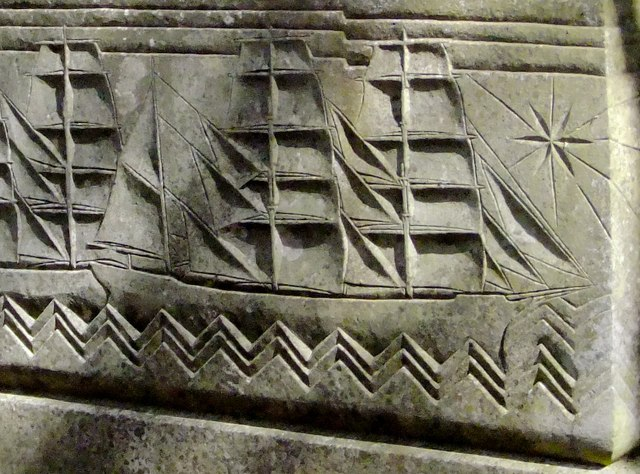 Image of a sailing ship, on the tomb of Bruce Ismay, Putney Vale Cemetery