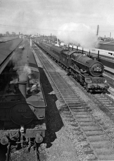 Princes Risborough station, with Up Birkenhead - Paddington express rushing through, passing a Down auto-train