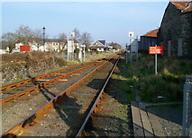 SH5639 : Two tracks into one east of Porthmadog railway station by Jaggery