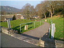 SH5639 : Path from the War Memorial down to street level, Porthmadog by Jaggery