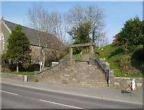 SH5639 : Steps and entrance trilith, Porthmadog War Memorial by Jaggery