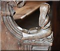 TL9172 : All Saints, Ixworth Thorpe - Bench elbow by John Salmon