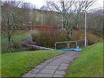 NS2374 : Derelict footbridge by Thomas Nugent