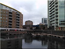 TQ3680 : View of the DLR viaduct over the Limehouse Basin by Robert Lamb