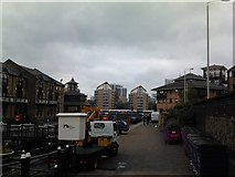 TQ3680 : View of flats on the Limehouse Basin from Victoria Wharf by Robert Lamb