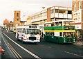 NZ4419 : Bus wars in Stockton High Street (1988) by Graham Hogg