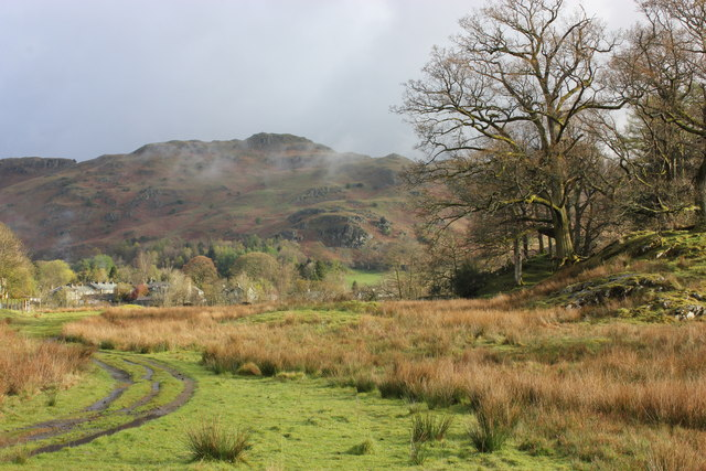 Toward Elterwater village with Dow Bank beyond