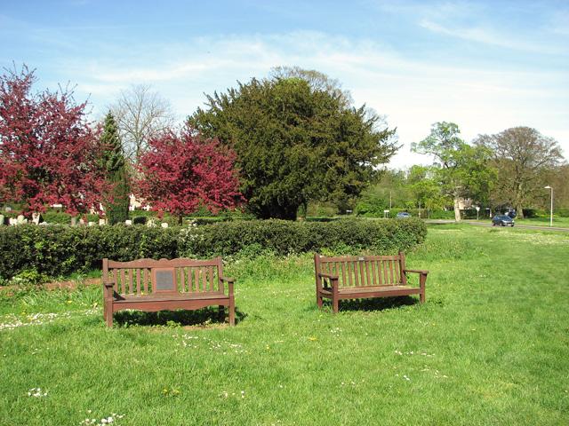 Commemorative seats on the village green, Horringer by Evelyn Simak