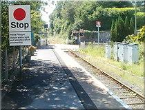 SN6221 : Stop - press plunger, Ffairfach railway station by Jaggery