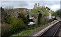 SY9682 : Signal and Railway Track at Corfe Station, Swanage Railway by Christine Matthews