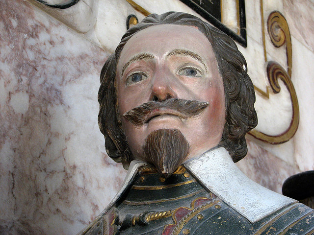 Harlton: detail of the monument to Sir Henry Fryer