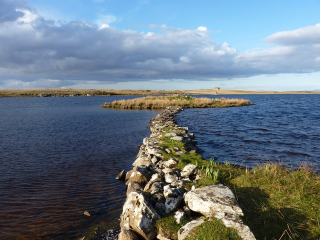 The causeway to the settlement in Loch Olabhat