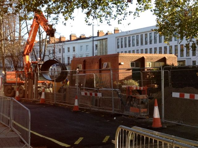 Placing a new sewer pipe, Regent Grove