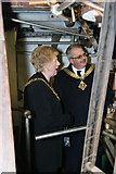 SO8218 : Gloucester Waterways Museum - mayor and deputy mayor/sheriff on steam dredger by Chris Allen